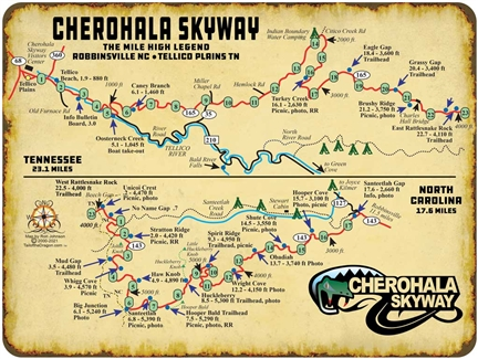 Metal Cherohala Map Sign 9x12