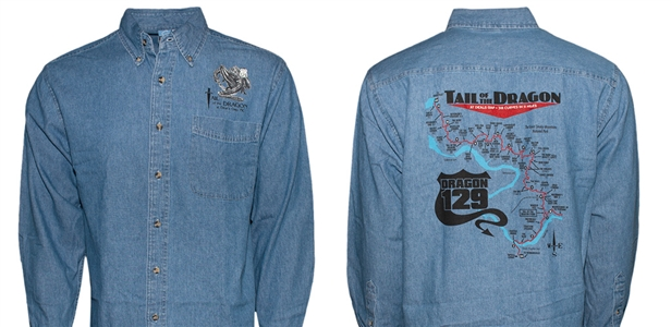 #44 Long Sleeve Denim Screen Print Dragon Map