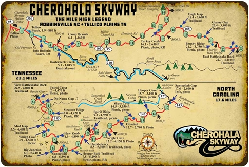 Metal Map Cherohala 12x18