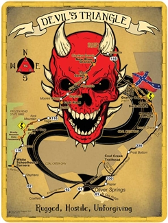 Metal Devils Triangle Map Sign 9x12