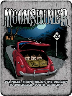 Metal Moonshiner Red Coupe 9 x 12