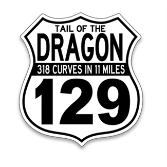 Tail of the Dragon 129 Sign